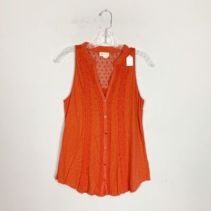 Meadow Rue anthropologie button up tank top